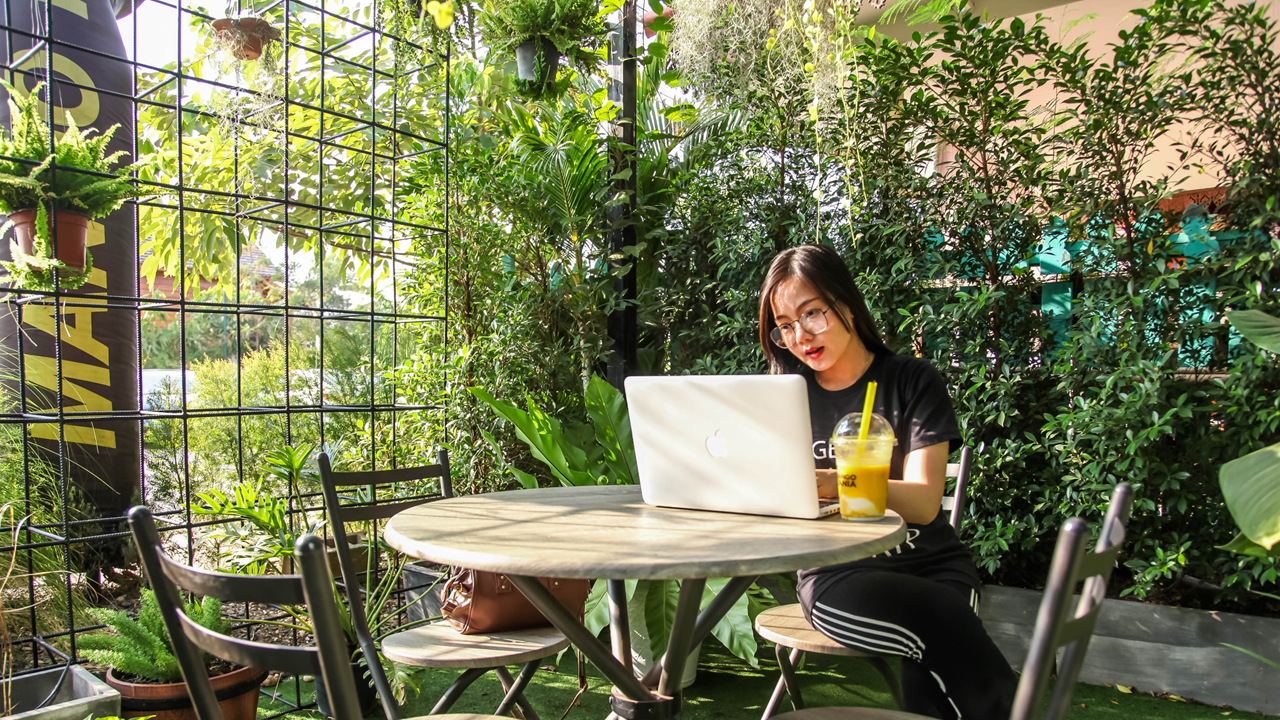 Image: A garden or greenhouse, completely or partially indoors. There's a round table with four chairs. On one of the chairs, a woman with a smoothie can on the table, using an Apple laptop computer.